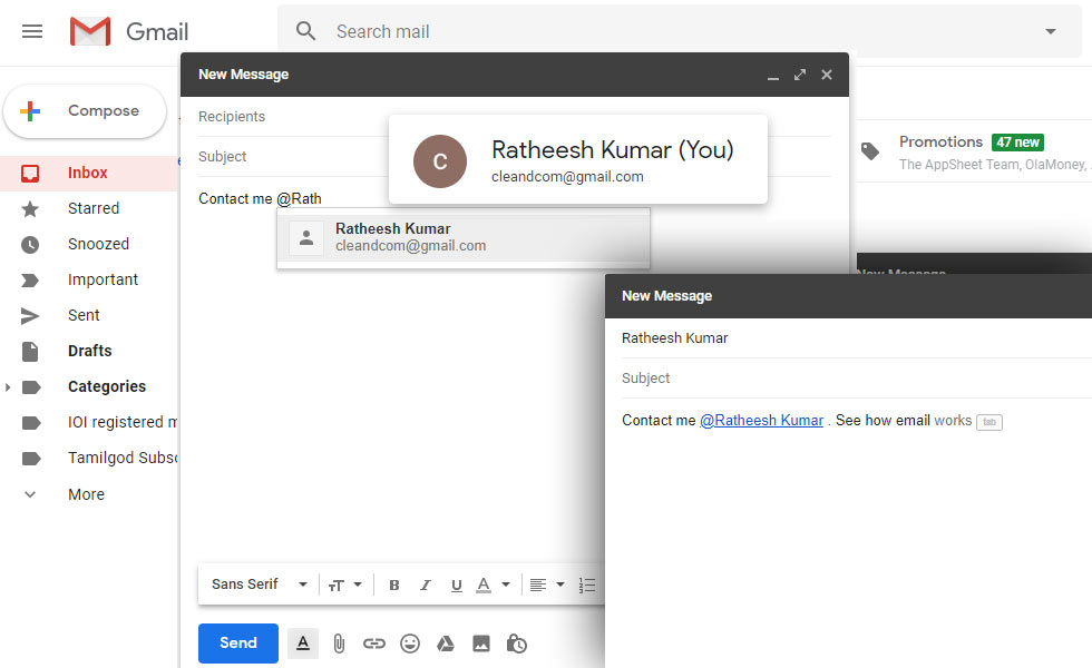 Now Gmail lets you '@' mention people to link them with their email ID in email's body